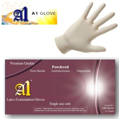 powdered latex exam gloves